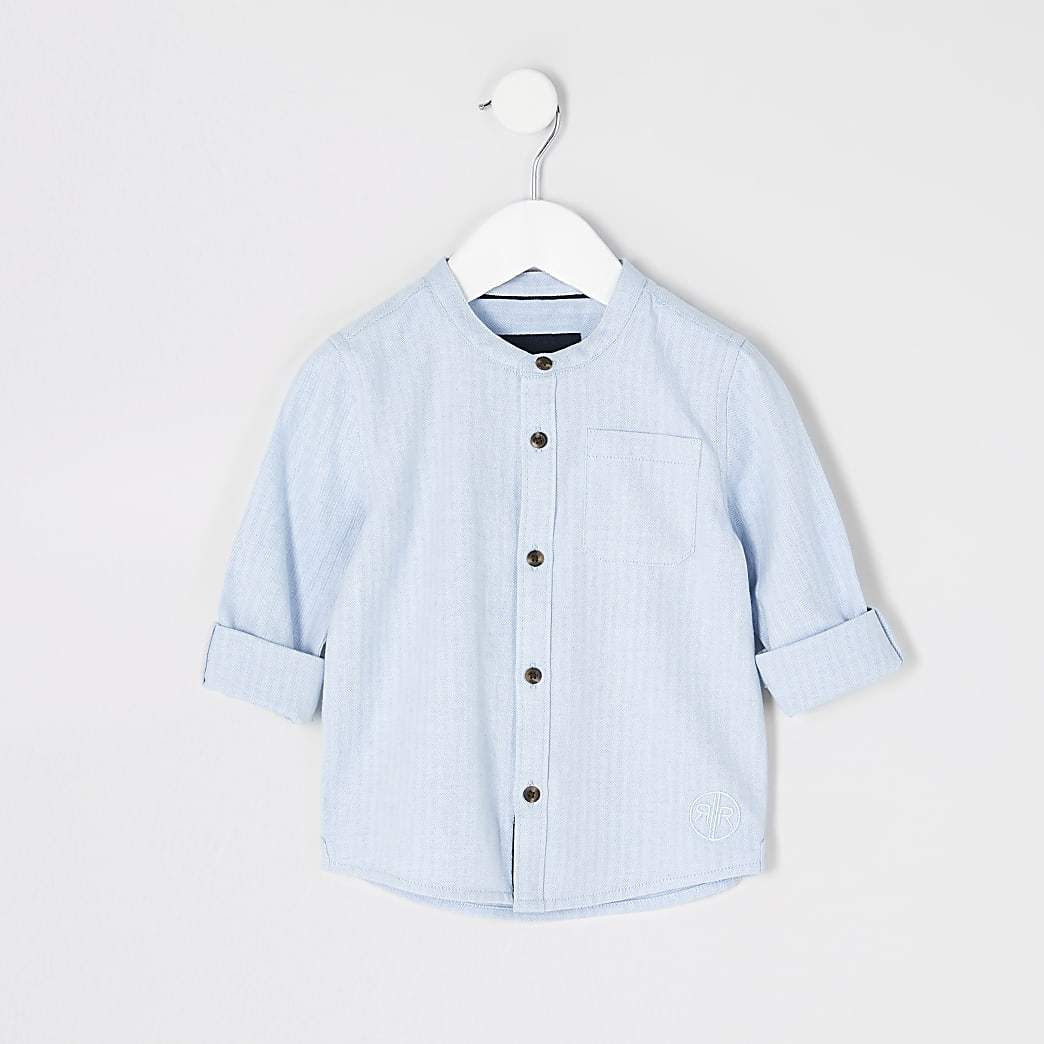 Mini boys blue herringbone grandad shirt