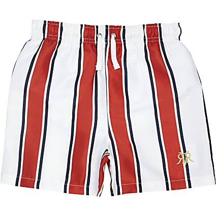Boys red stripe RI swim shorts