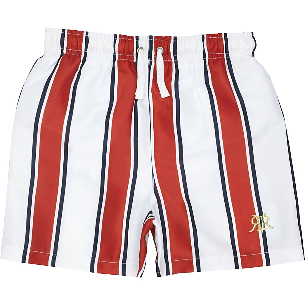 Boys red stripe RI swim shorts