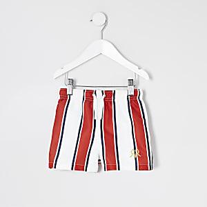 Mini - Rode gestreepte geborduurde zwemshort voor jongens
