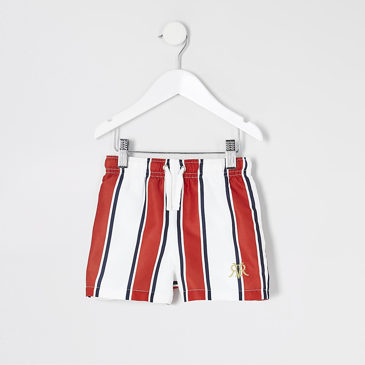 Mini boys red stripe embroidered swim shorts