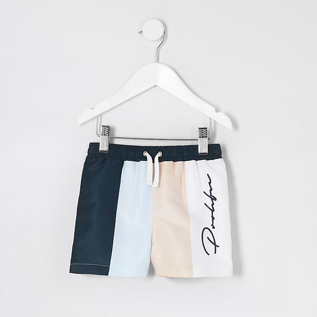 Mini boys blue Prolific stripe swim shorts