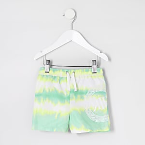 Shorts de bain verts tie and dye Mini garçon