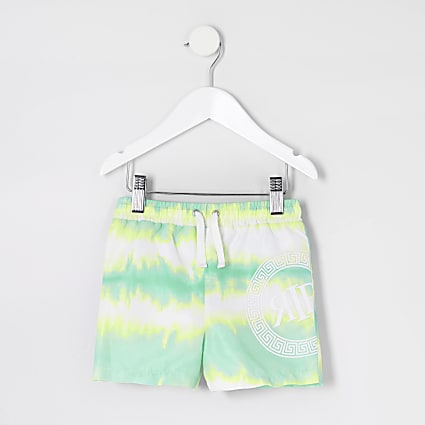 Mini boys green tie dye print swim shorts