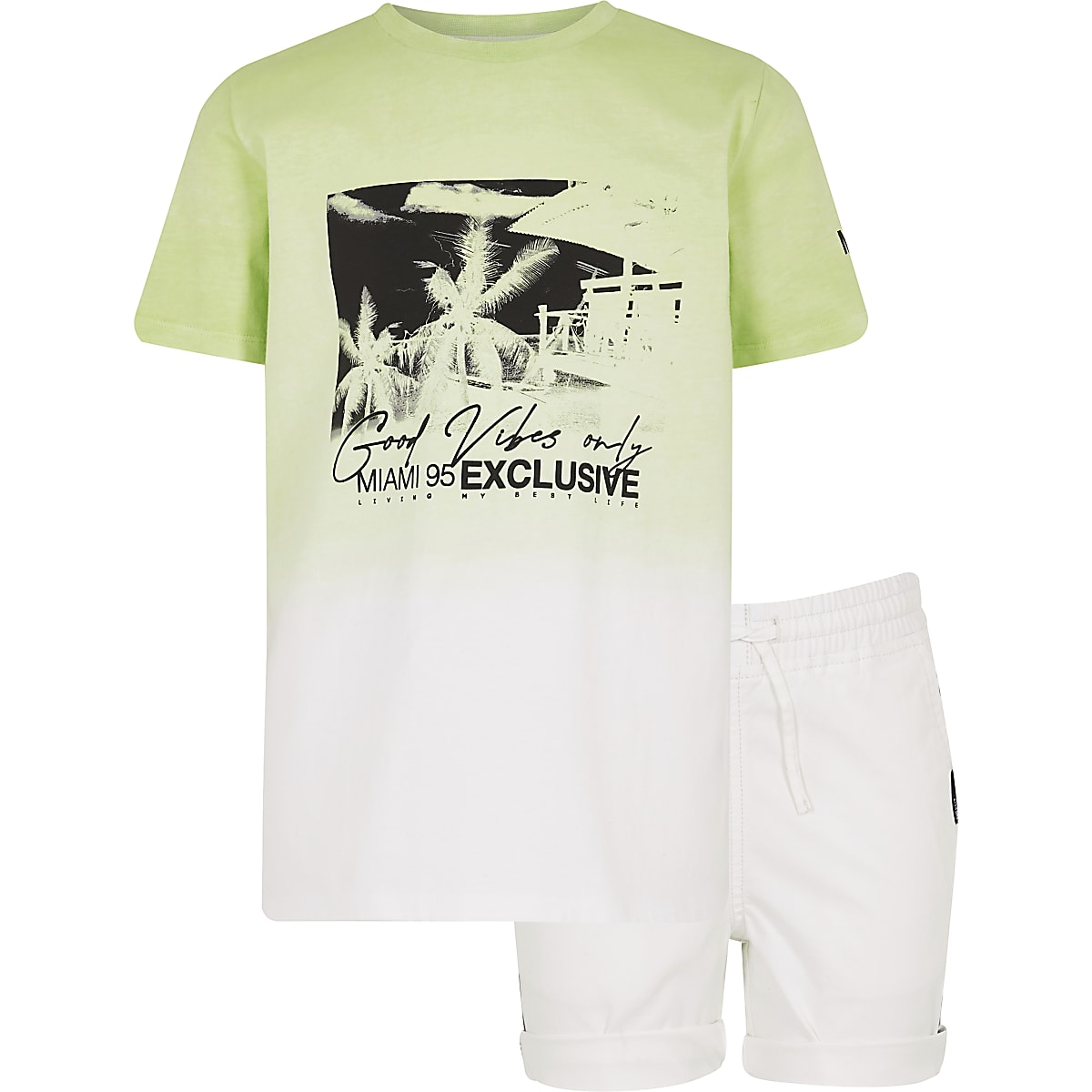 Boys lime green 'good vibes' T-shirt outfit