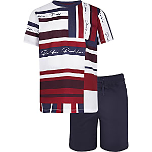 Abstract - Set met rood T-shirt en short voor jongens