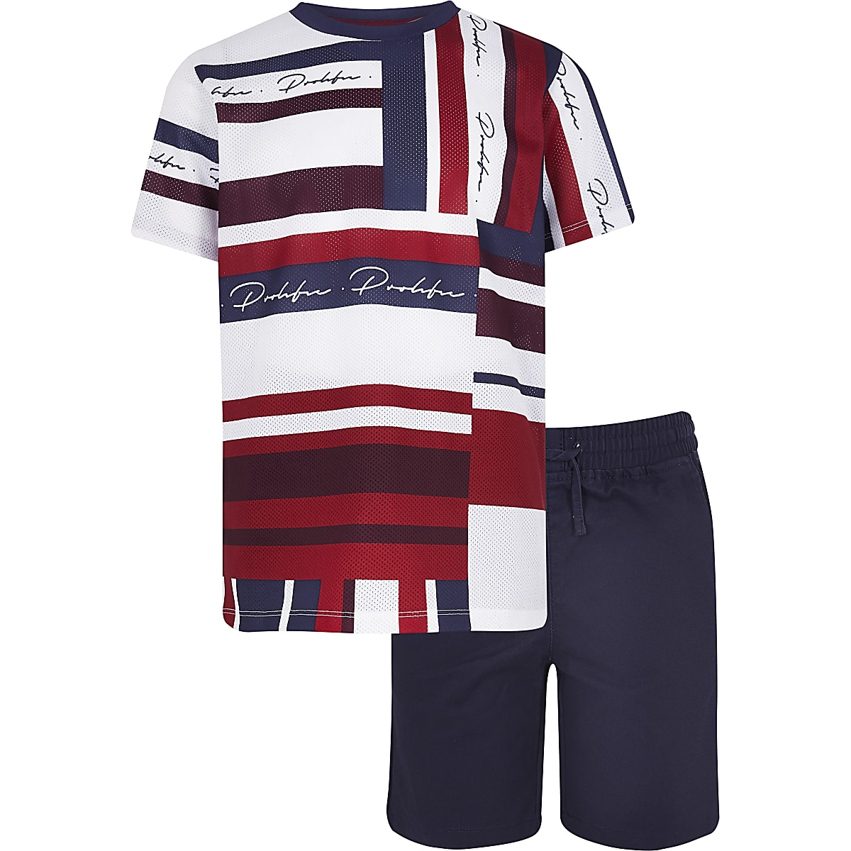 Boys red Abrasct tee and short set