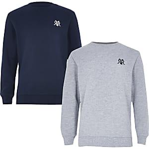 Multipack met marineblauwe en grijze pullover voor jongens