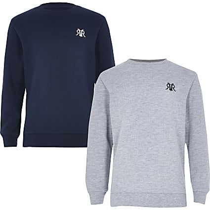 Boys navy and grey jumper multipack
