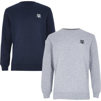 Boys navy and grey sweatshirt multipack