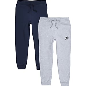 Boys grey and navy RI jogger multipack