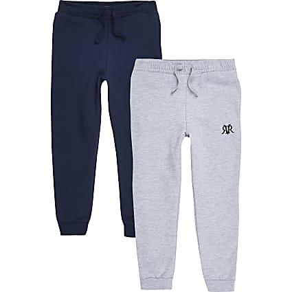 Boys grey and navy RI jogger multipack