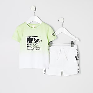 Mini boys green 'good vibes' T-shirt outfit
