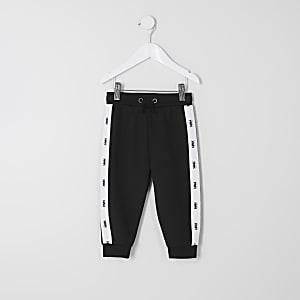 Mini - Zwarte ' RVR' joggingbroekmet tape langs de naad voor jongens