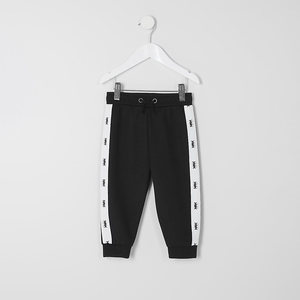 Mini boys black 'RVR' tape jogger