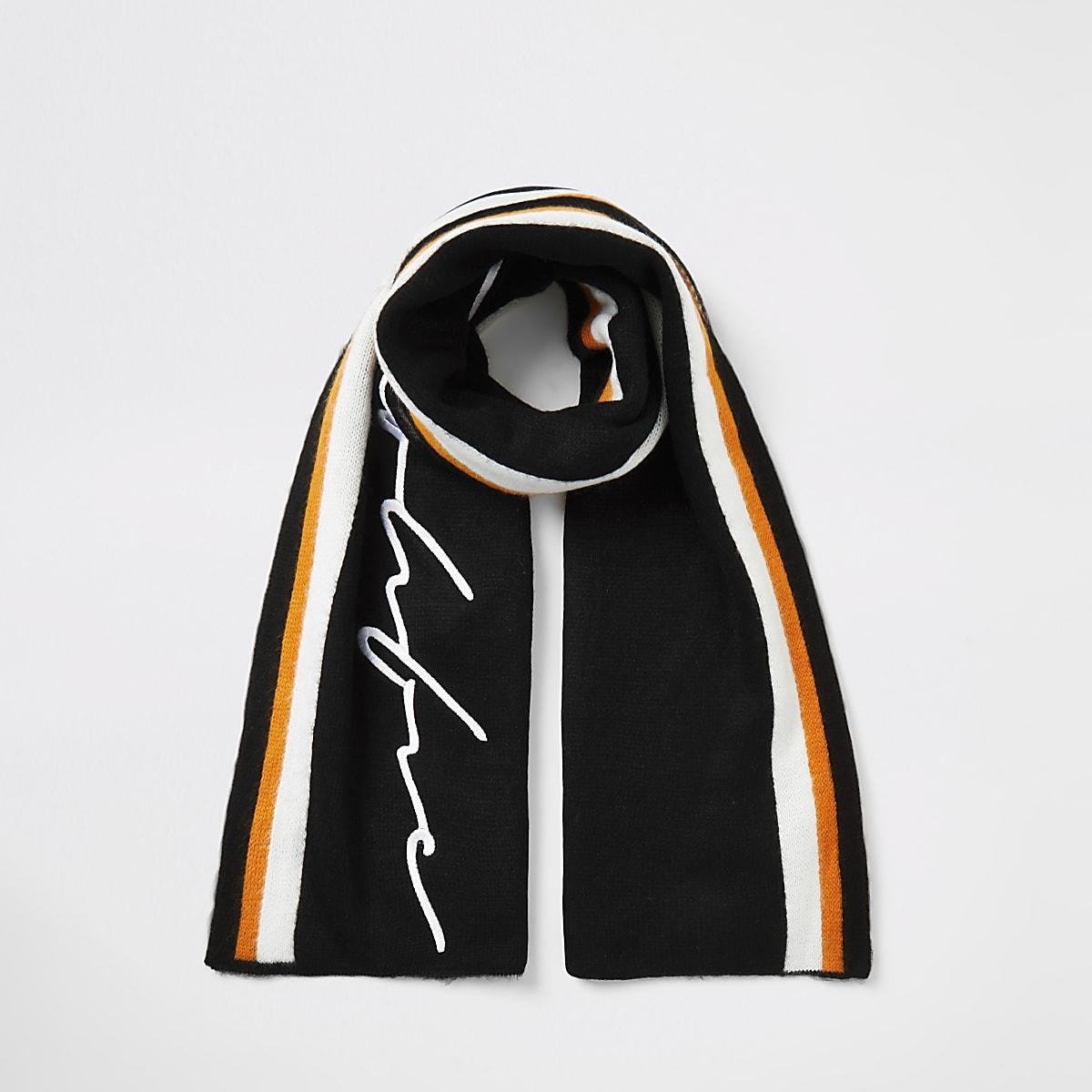 Boys black Prolific stripe scarf