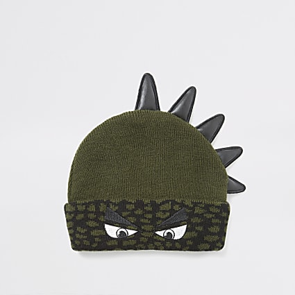 Mini boys khaki dinosaur beanie hat