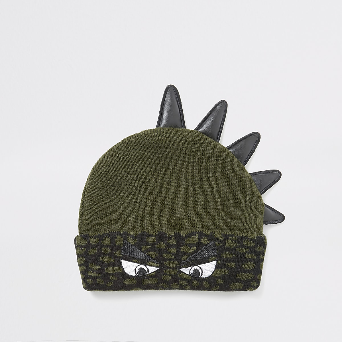 Mini boys khaki dinosaur beanie hat