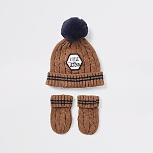 Ensemble bonnet et moufles marrons Mini garçon