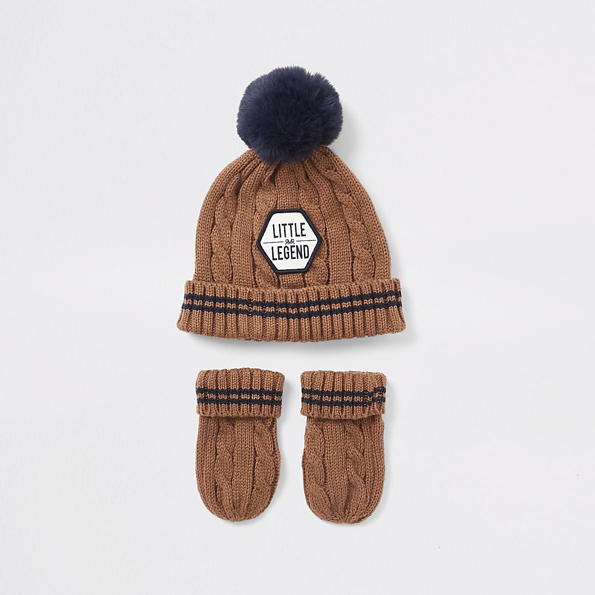 Mini boys brown beanie hat and mitten set