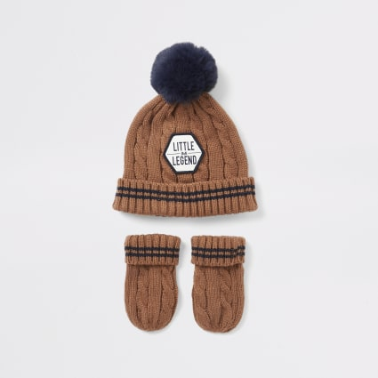 Mini boys brown beanie hat and mitten set