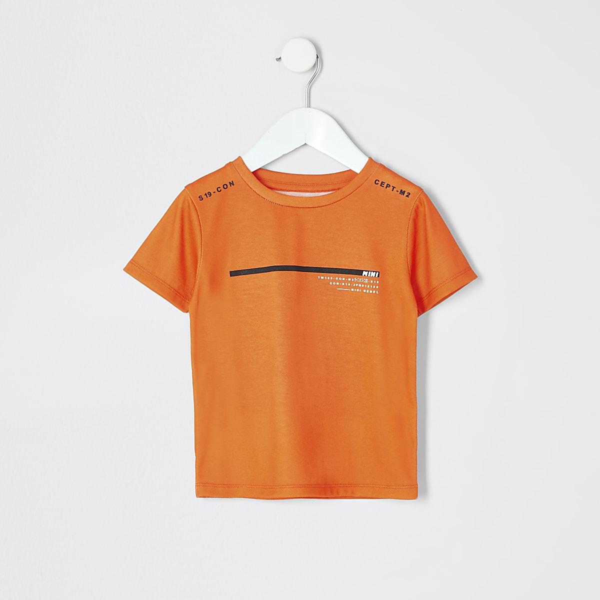 RI Active- Oranje T-shirt met print voor mini-jongens