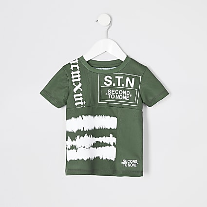 Mini boys RI Active khaki STN mesh T-shirt