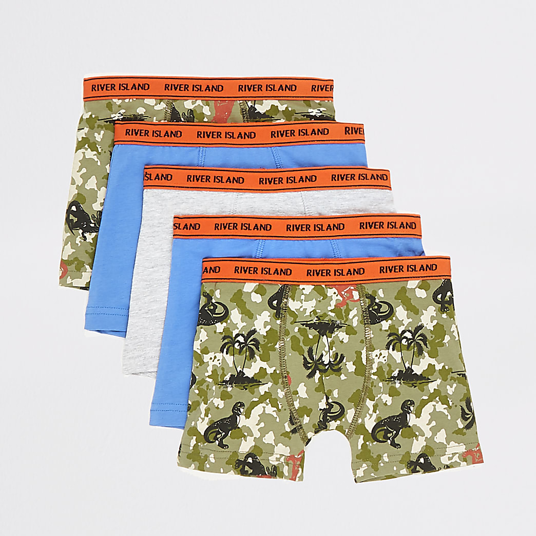Mini boys khaki camo printed boxers 5 pack