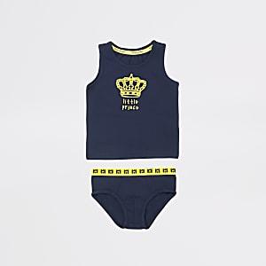 Mini - Marineblauwe ondergoedset met 'Little prince'-tekst voor jongens