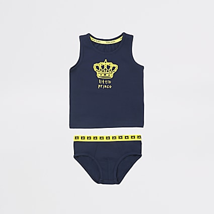 Mini boys navy 'Little prince' underwear set