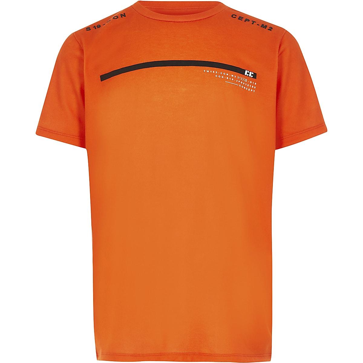 RI Active - Oranje T-shirt met STN-print voor jongens