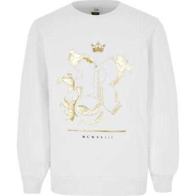 Boys White R Foil Embossed Sweatshirt by River Island