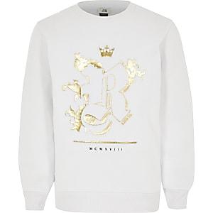 Wit sweatshirt met R-folie met reliëf voor jongens