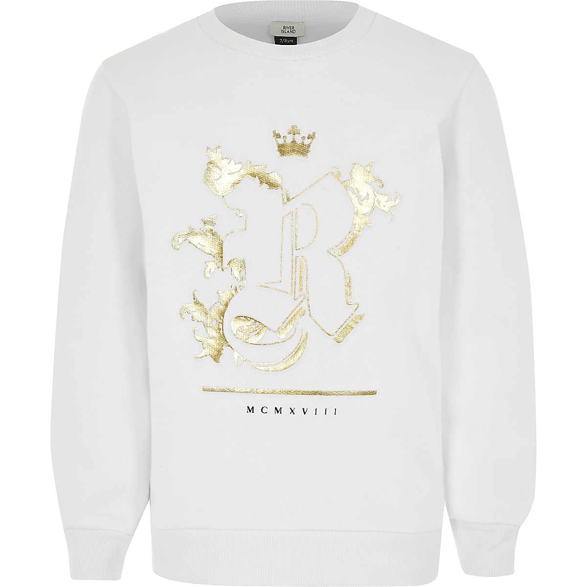 Kids white R foil embossed sweatshirt