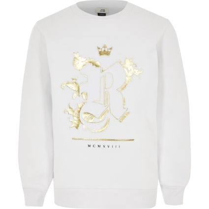 Boys white R foil embossed sweatshirt
