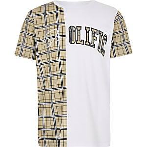 Boys white 'Prolific' check blocked T-shirt