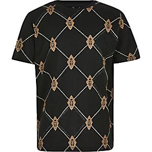 Zwart T-shirt met ruitenprint en RI-monogram voor jongens