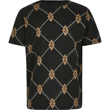 Boys black diamond RI print T-shirt