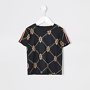Mini - Zwart T-shirt met ruitenprint voor jongens