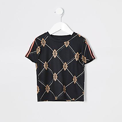 Mini boys black diamond print T-shirt