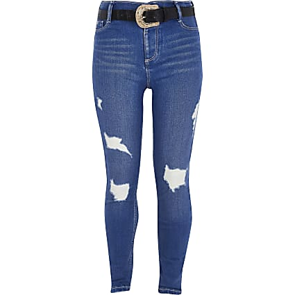 Girls bright blue rip Molly belted jeggings