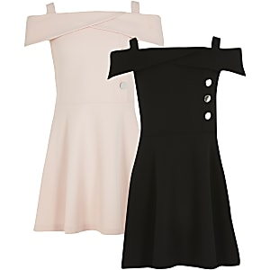 Girls pink and black bardot dress 2 pack