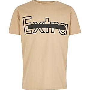 Kiezelkleurig T-shirt met 'Extra'-tekst voor jongens
