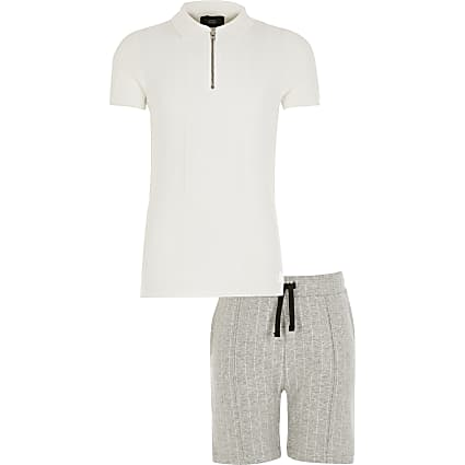 Boys white knitted polo shirt outfit
