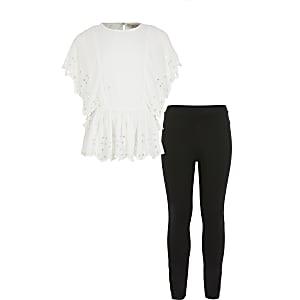 Tenue avec legging et top en broderie anglaise blanc pour fille
