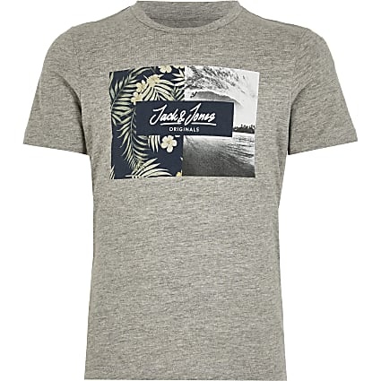 Boys Jack and Jones grey printed T-shirt