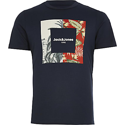 Boys Jack and Jones navy printed T-shirt