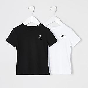 Lot de 2 t-shirts RVR blanc et noir Mini garçon