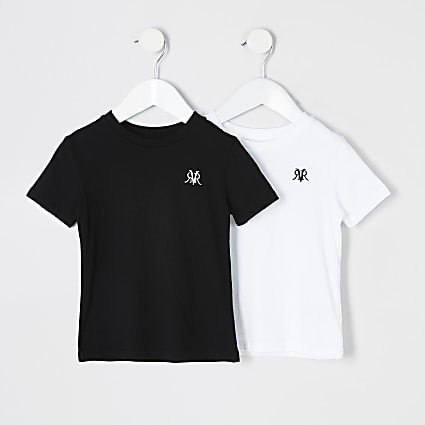 Mini boys white and black RVR T-shirt 2 pack