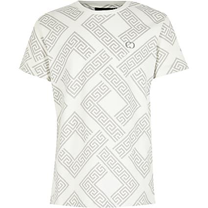 Boys Criminal Damage white printed T-shirt